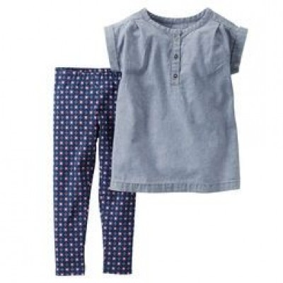 2-Piece Chambray Top & Floral Legging Set 3