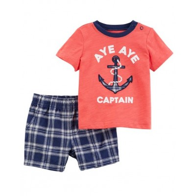 Carter's 2-Piece Jersey Tee & Plaid Short Set