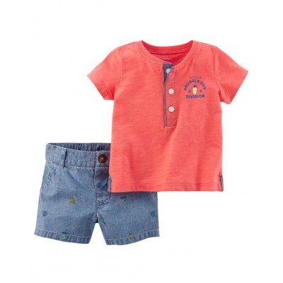 Carter's 2-Piece Slub Jersey Henley & Chambray Short Set