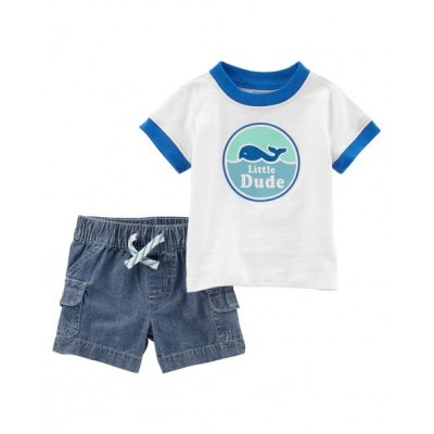Carter's 2-Piece Slub Jersey Tee & Chambray Short Set