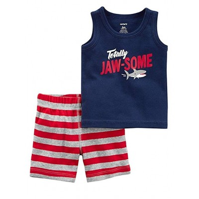 Carter's Baby Boys 2 piece Cotton Tank Top and Shorts Set Shark