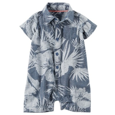 Carter's Baby Boys' Chambray Floral Romper, 6 Months