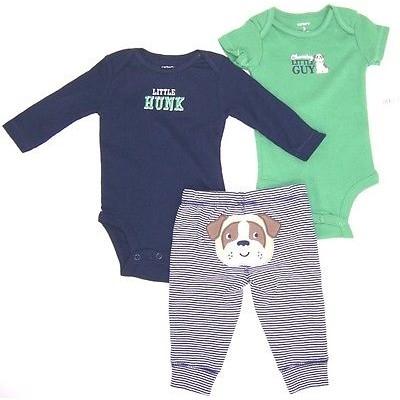 Carter's Baby Boys Little Hunk 3 Pc Bodysuit & Pants Set NWT 3M
