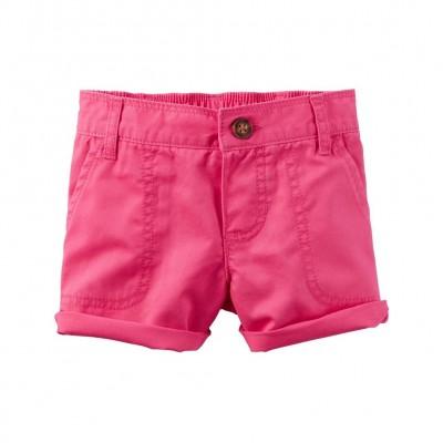 Carter's Baby Girls' Twill Roll-Cuff Shorts