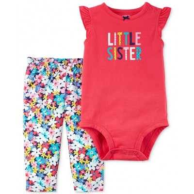 Carter's Cotton Little Sister Bodysuit and Floral-Print Pants Set