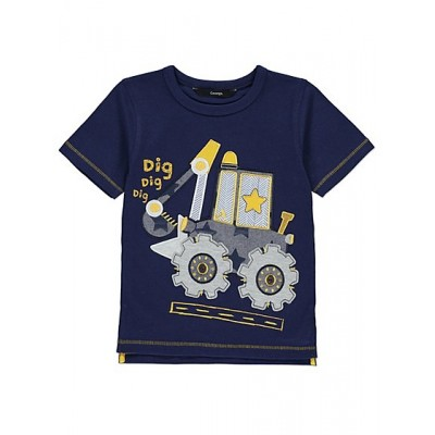 Big Boys' Digger Crazy Washed T-Shirt With 3D Print
