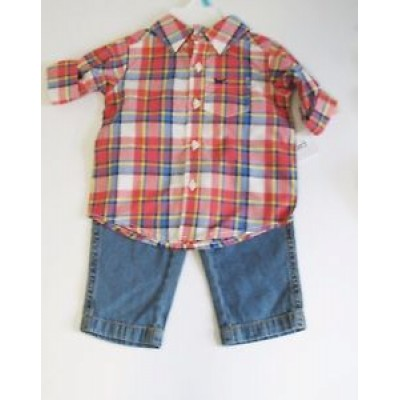 Carter's Baby Boys 2 piece Plaid Long Sleeve Shirt & Jeans Set