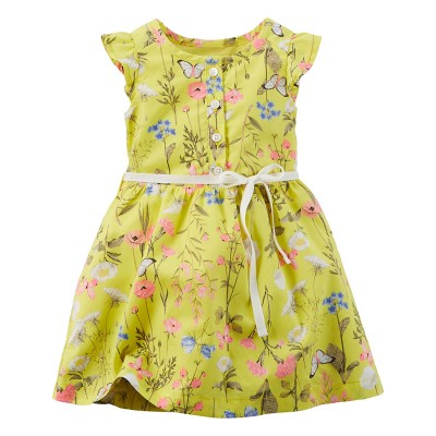 Carters Girl Flutter Sleeve Printed Poplin Dress; Yellow