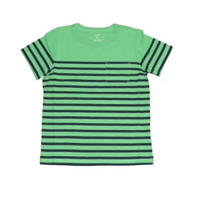 Carter's Little Boys' Striped Slub Jersey Tee, Green/Navy Blue Stripe