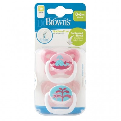 Dr Brown's Prevent Suction Free-Air-Channel Pacifier for 0 to 6-months