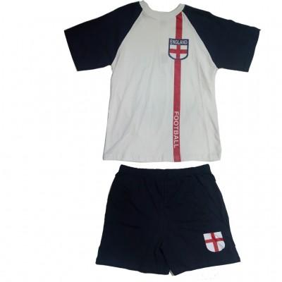 England Short Pyjamas 100% Cotton Football Shortie PJs Kids Size 11 – 12 years