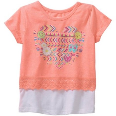 Garanimals Toddler Girl Short Sleeve Crochet Trim Graphic - Coral 3