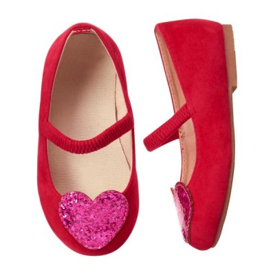 Gymboree Girls Valentine Heart Shoes – Red with Pink Glitter Hearts