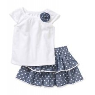 Healthtex Toddler Girls Cap Sleeve Top & Tiered Skirt Set Size 3T 3