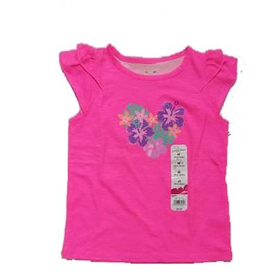 Jumping Beans Pink Girls Tee Wt flower Emblsmt 3
