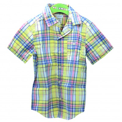 NWT Carter's Toddler Boys Button Down Short Sleeve Dress Shirt Yellow 3