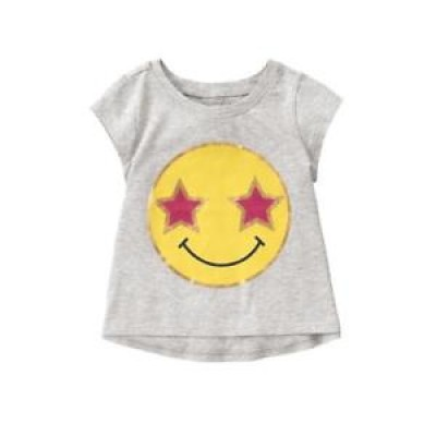 Nwt Crazy 8 Emoji Smiley Gray Girls Short Sleeve Shirt 3