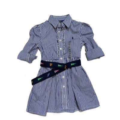 Ralph Lauren Polo Girls Striped Shirtdress Dress & Belt 3