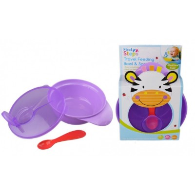 First Steps Travel Feeding Bowl And Spoon Set Purple Colour