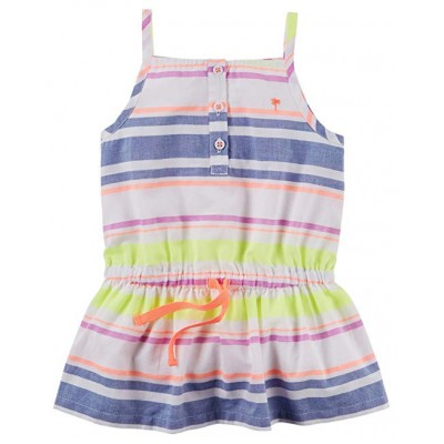Carters Girl Neon Striped Button Front Tunic