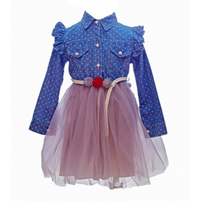 Denim Eraykids For Girls Dress With Belt 3