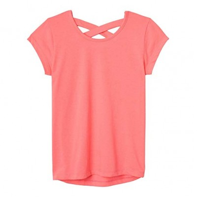 French Toast Girls' Short Sleeve Cross Back Top- pink