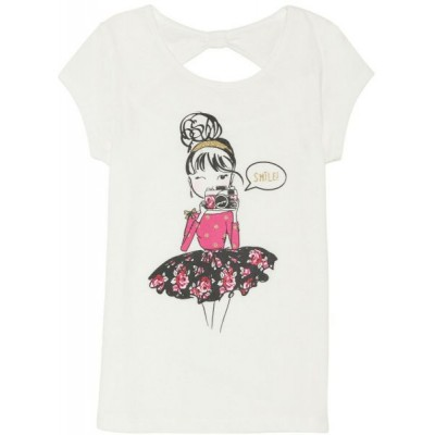 French Toast Little Girls' Short Sleeve Bow Back Graphic Top