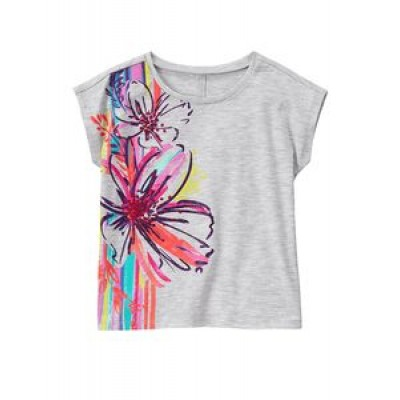 Gymboree Big Girls' Short Sleeve Fruit Grey Graphic Tee- Floral