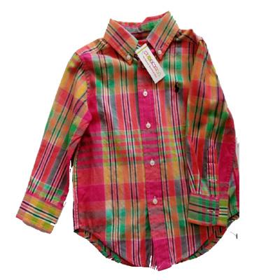 Ralph Lauren Children Swear Plaid Cotton Twill Button Front Workshirt Toddler Boys 3