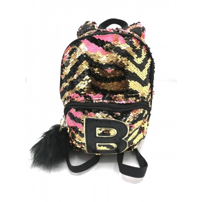Justice Mini Small Backpack, Flip Sequin Gold Tiger Initial (Letter O, B, H)
