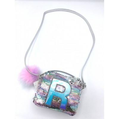 Justice's Sequined R Crossbody Bag.