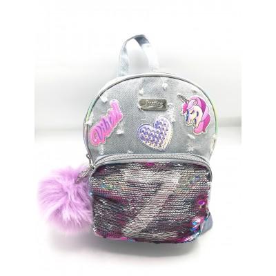 Justice Girls Initial Denim Mini Backpack Medium Wash (Letter L, Z)