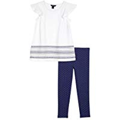 Nautica Toddler Girls' Two Piece Short Sleeve Legging Sets