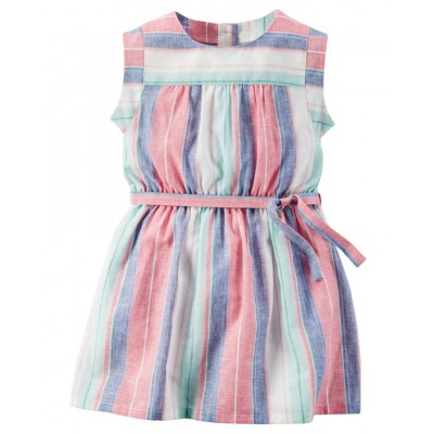 Striped Linen Dress. Carters Dress Toddler Girl