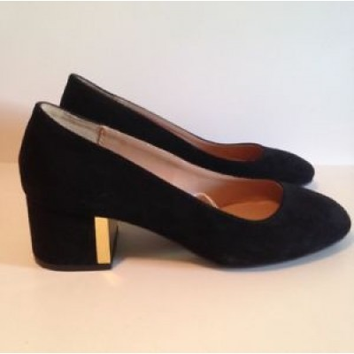 Fioni Black Faux Suede Shoes With Gold Trim