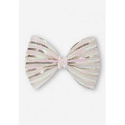 Justice Silver Glittery and Sequence Bow Hair Band