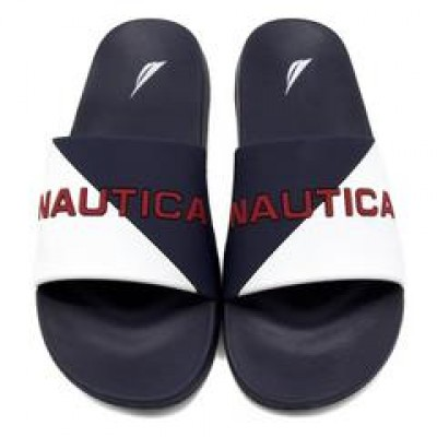 Nautica Stono Slash Slide - White -Navy