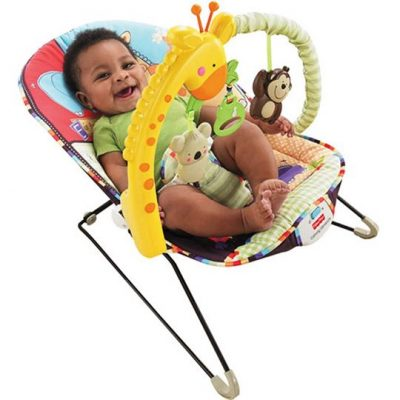 Encourage playtime at a young age with the Fisher-Price - Playtime Bouncer. This Fisher-Price baby bouncer features fun character friends for your baby to sit and play with. Its toy bar features a giraffe, a monkey and a koala bear. When your baby pulls on the leaf overheard, songs and animals sounds play for them. It features a soothing vibration that will lull your child to sleep. The rubber stops on the legs prevent it from skidding or scratching your floors. The pad is machine washable for your convenience. It also folds up so that you can store it easily when you're not using it, or when you want to take it on a trip with you. The Fisher-Price - Playtime Bouncer is portable and lightweight, and it accommodates babies up to 25-pounds. Some assembly is required. Fisher Price-luv U Zoo Bouncer