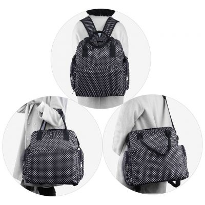 FancyNova All-in-One Diaper Bag Backpack Multifunction Waterproof Baby Nappy Bag for Mom & Dad – with Changing Pad & Stroller Straps, Large Capacity