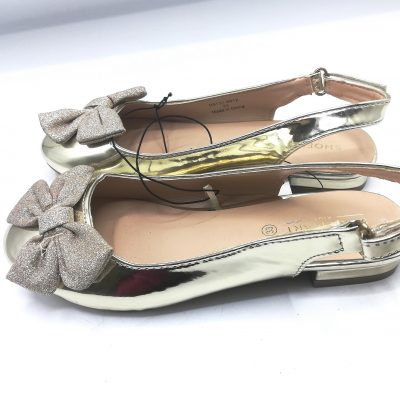 Shoemart Strap Girls Gold Shoe