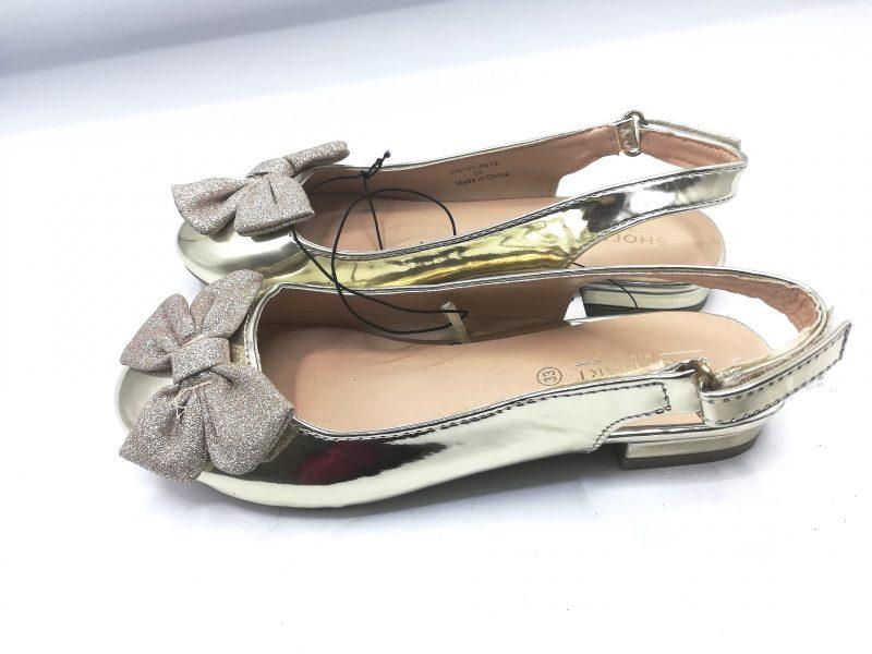 Shoemart Strap Girls Gold Shoe