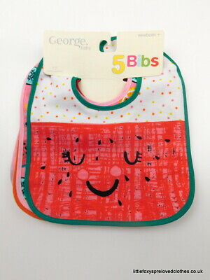 George Set of 5 Cute Colourful Bibs for a Baby