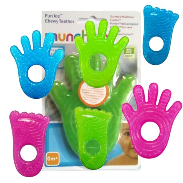 Chewable toy to help ease teething pain Refrigerate or freeze to cool gel for added relief Multiple textured surfaces to chew and touch Easy for little hands to hold
