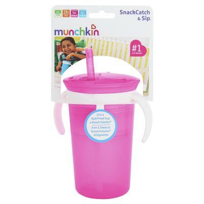 Munchkin Sippy Straw Cup and Snack Sip, snack, repeat. Munchkin's SnackCatch & Sip™ combination cup may just be your toddler's new favorite way to snack. The lid of this straw cup has a snack catcher built into the top and can hold up to 113 grams of your tot's favorite treat. Fitted with soft flaps, it makes snacks easy to access, but not spill out. The combination of the silicone straw and screw-on lid's tight seal prevents leaks and spills. The cup can hold up to 266mls of milk, juice or water. Plus, this cup has convenient handles to make it easy for even the smallest hands to hold. It's time to snack and sip in style! All-in-one snack catcher and sippy cup Spill proof silicone straw prevents leaks Soft flaps provide easy access to snacks without the mess 266ml capacity for milk, juice and water 113g capacity for your tot's favorite snacks It's the little things.