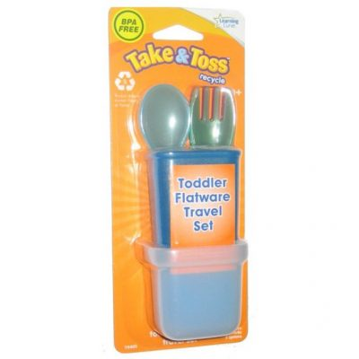 Take & Toss Toddler Flatware Fork Spoon Utensil Travel Set