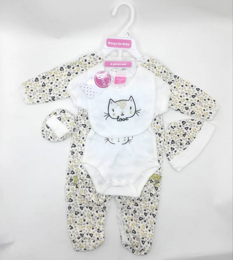 Bungy For Baby 6 Piece Layette Set 0-3, 3-6 Month